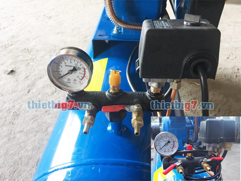 Ngỏ ra, bộ chỉnh áp máy nén khí pegasus 1 cấp 3hp-120l-8bar