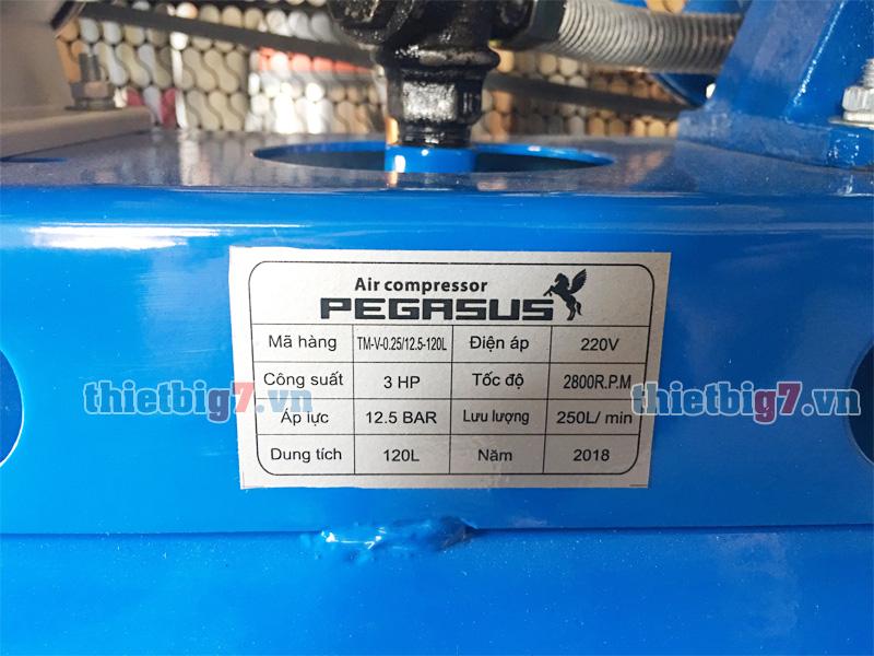 Thông số sản phẩm trên máy nén khí pegasus 3hp-120l-12.5bar